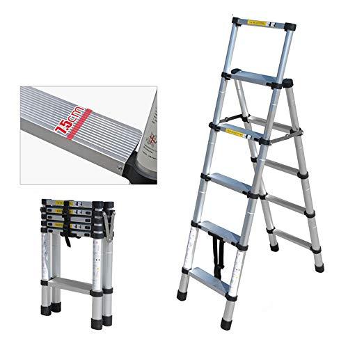 QHGao Multifunctionele uittrekbare ladder, antislip-functie, opvouwbaar, van dikke aluminiumlegering, geschikt voor de ladder van ingenieurstechniek