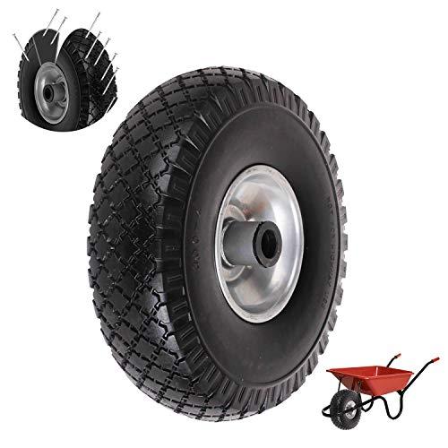 everfarel Goma ruedas Rueda de carretilla (260/350/390 mm Cochecitos de neumáticos goma rueda de repuesto antipinchazos (260mmPU,Negro) ✅