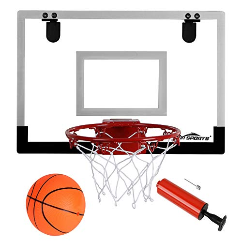 "Win SPORTS The Door/Wall Indoor Mini Basketball Hoop with Breakaway Steel Rim - Includes 5"" Mini basketballs and Hand Pump with Needle (18x12 inches)"