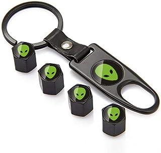 INCART Universal ET Logo Tire Caps Steel (4pcs) Car Tire Valve Stem Air Caps Cover + (1pcs) Keychain Green Extra-Terrestri...