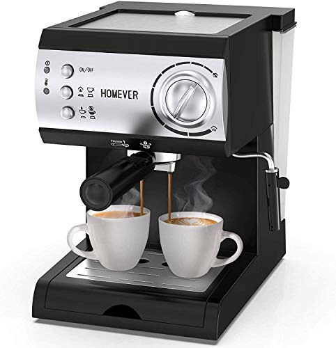 HOMEVER Macchina per Caffè Espresso, 15 bar, Macchina manuale per il Caffè Espresso e, Cappuccino, 1 o 2 caffè, scaldatazze, 1050W, Nero