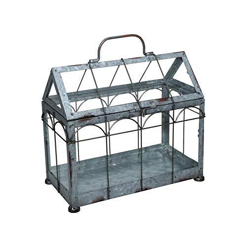 Esschert Design Gewächshaus m. verschließbarem Deckel, Pflanzenhaus Größe S, 29,3 x 15,4 x 26,4 cm, Eisen/Glas mit Tragegrifff, stabile Standfüße