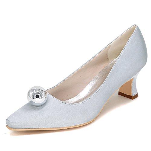 Elaboky Zapatos De Boda De Las Mujeres Punta Estrecha Plataforma OtoñO Arcos SatéN Medio TalóN /5.5cm TalóN, Silver, 40