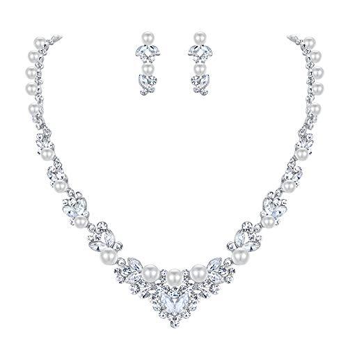EVER FAITH Bridal Leaf Jewelry Set Clear Austrian Crystal Silver-Tone Simulated Pearl White