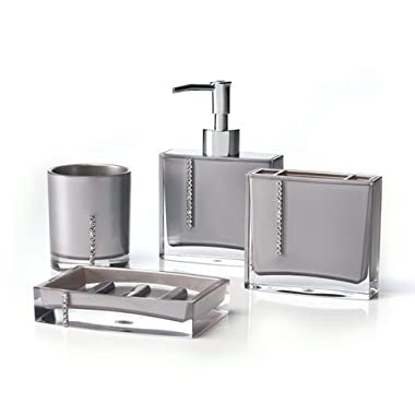 Immanuel Cristal 4-PIECE Bathroom Accessory Set with Tumbler, Toothbrush Holder, Lotion Dispenser and Soap Dish (Silver)