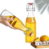 Praknu 6 Glasflaschen mit Bügelverschluss 500ml - 6 Extra Dichtungen und 12 Etiketten mit Stift - 5