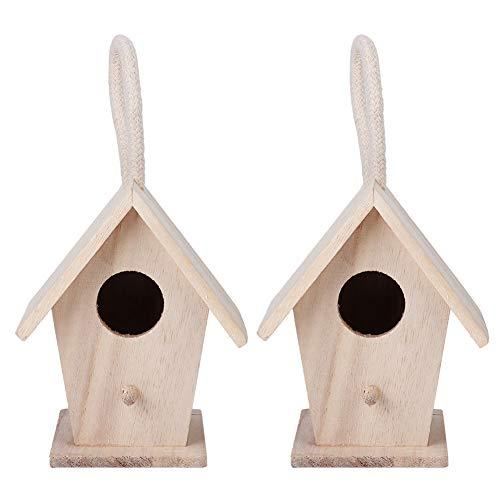2ST Hängande Birdhouse Birdhouse Mjuk Textur Platan Trä för Utomhus Trädgård Patio Dekorativa Tillbehör
