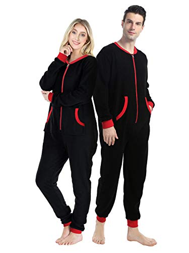 dressfan Unisex Pajamas Solid Color Fleece Onesie Jumpsuit Thermal Sleepwear Loungewear Christmas Matching PJS Set Non-Hooed Long Sleeve Zipper Pockets,Women&Men,Black+Red,L