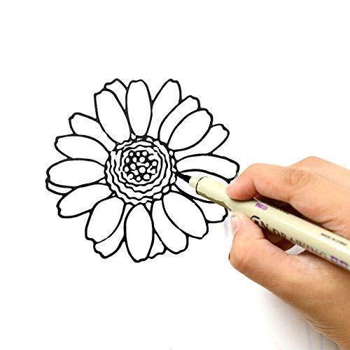 Supertool – Bolígrafo delineador de dibujo, tinta negra, resistente al agua, 005/01/03/05/08/pincel, suave, sin decoloración, juego de 6 unidades
