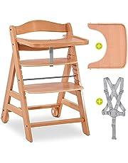 Hauck Alpha Move Seggiolone Pappa Legno, cintura, ruote e vassoio - Seggiolone Evolutivo Hauck può sostenere fino a 90 kg - legno naturale