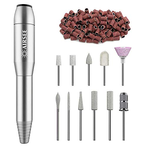 AIRSEE Portable Electric Nail Drill Professional Efile Nail Drill Kit For Acrylic, Gel Nails, Manicure Pedicure Polishing Shape Tools with 11Pcs Nail Drill Bits and 56 Sanding Bands