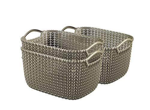 Curver 240630 - Set de 3 cestas Knit, tamaño S, 8 L, color marrón