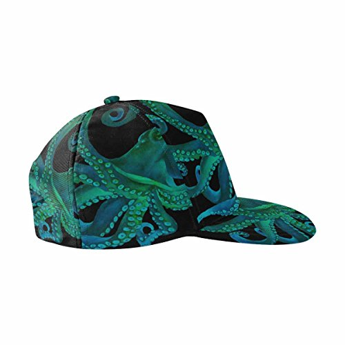 INTERESTPRINT Blue Watercolor Octopus Sea Poulpe Adjustable Flat Bill Snapback Baseball Cap Hat
