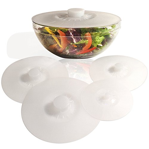 Silicone Bowl Lids White, Set of 5 Reusable Suction Seal Covers for Bowls, Pots, Cups. Food Safe. Natural grip, interlocking handles for easy use and storage.