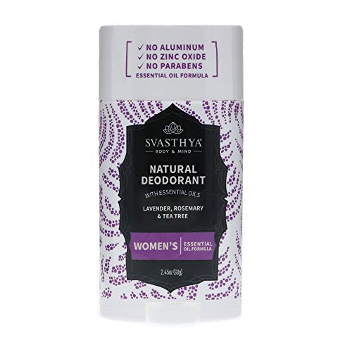 SVASTHYA BODY & MIND Natural Deodorant with Essential Oils - Womens - Gentle Skin Nourishing With A Refreshing Scent of Lavender, Rosemary & Tea Tree - Made In The USA, 2.45 oz