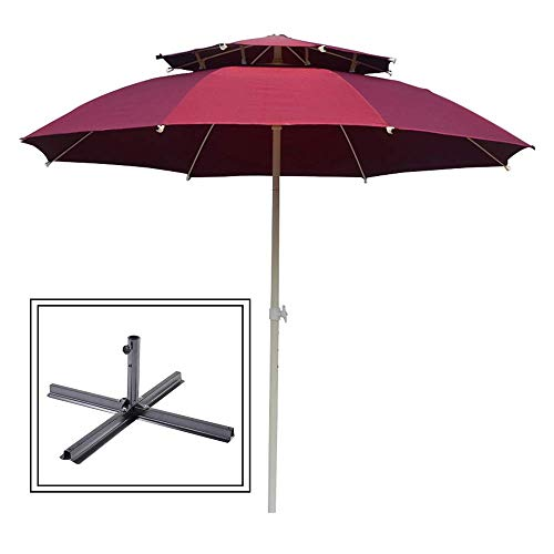 SCJ 7.2Ft Patio Umbrella UV Protected Outdoor Umbrella,Easy Crank Lift,with Ventilation Top,Cross Base