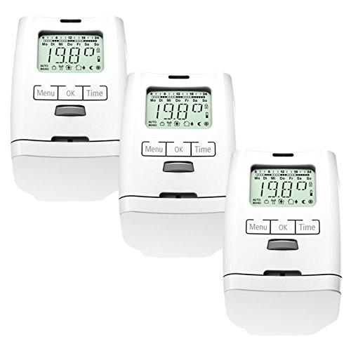 Conjunto de 3 programable para radiadores-termostato (ahorro de energía) HT 2000 unidades modelo silencioso, juego de 3 habitaciones, versión Premium con tuerca de metal estable