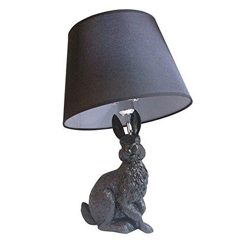 FAGavin Lámpara de Escritorio Lámpara De Mesa De Conejo Negro 35 * 35 * 57 Cm Escritorio Sala De Estar Dormitorio De Los Niños Estudio Lectura Luz Creativa Decorativa Adornos De Resina