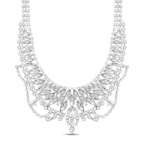 Steve Madden Rhodium Plated Marquis Crystal Bib Statement Necklace for Women