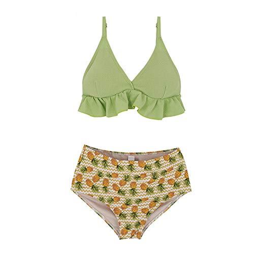Chaconka Femme Maillot de Bain 2 pièces Taille Haute Imprimé à Volants Deux pièces Vintage Bikini Push-up Dos Nu Rembourré Chic Trikini Ventre Plat Plage Swimsuit