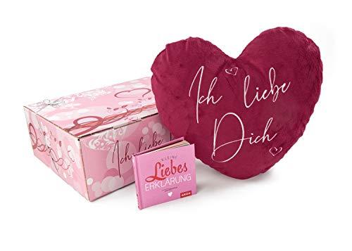 Herzkissen ich liebe dich, Geschenkbox Geschenkset Minibuch Liebeserklärung - romantisches Geschenk zum Valentinstag Geburtstag Jahrestag Hochzeitstag Weihnachten, Dekokissen flauschig rot, Plüschherz