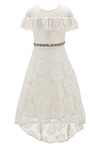 Bow Dream Floral Lace Flower Girl Dresses Off Shoulder Hi-Lo Rhinestone Swing Prom Pageant Ivory 10