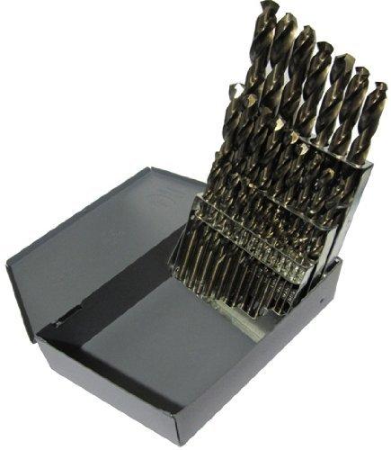 Drill America D/A29J-CO-SET 29 Piece Cobalt Steel Jobber Length Drill Bit Set in Metal Case, Gold...