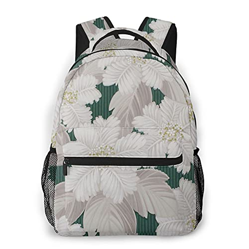 Zhouwe Zaini bianchi con fiori su verde per la scuola, per libri, università, borsa da trasporto leggera, da viaggio, sport, zaino