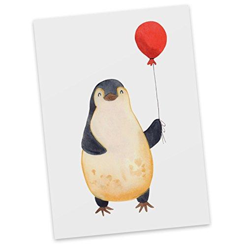Mr. & Mrs. Panda Karte, Grußkarte, Postkarte Pinguin Luftballon - Farbe Weiß
