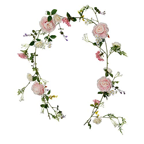 FLCSIed Artificial Peony Flower Garland - 6ft Silk Peony Garland with Pink and White Flowers for Wedding Party Table Decoration