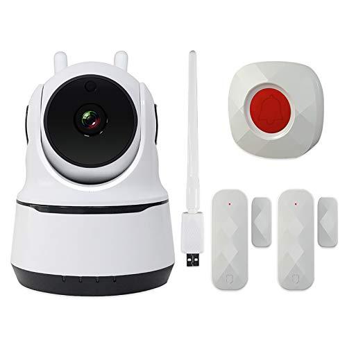 Wolf-Guard Cámara Tienda de seguridad WiFi, alarma de apertura de puerta, detector de movimiento, APP Push, 1080P, 90dB de sonido de alarma