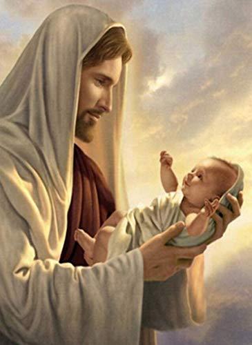 Wall Decor Arts-Diamond Painting By Number-Kit religioso redondo DIY Mosaico punto de cruz patrón hecho a mano bordado pintura hecha a mano decoración de la pared 14x18 Jesús y bebé