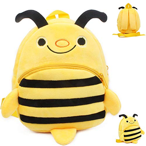 Accod Cute Cartoon Children's Backpack Soft Plush Animal Children's School Bag for Toddler Children Boys Girls, 1-3 Years Old (Yellow Bee)
