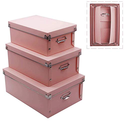 File Storage Boxes Foldable Storage Bins with Lid 3 in 1 Set Press-Stud Fastening Moisture-Proof Space Saving Storage Storage Box for Photoes Toys Files Closets