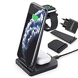 Lopnord Chargeur sans Fil 3 en 1, Station de Charge sans Fil Compatible avec pour iPhone 12/12 Pro...