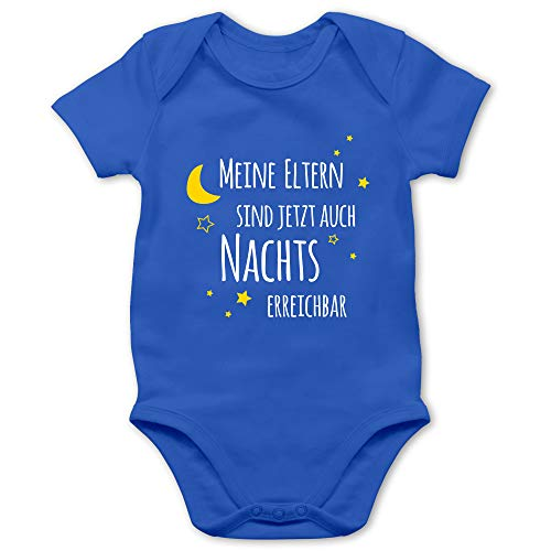 Shirtracer Sprüche Baby - Meine Eltern sind jetzt auch Nachts erreichbar - 3/6 Monate - Royalblau - witzige babygeschenke - BZ10 - Baby Body Kurzarm für Jungen und Mädchen