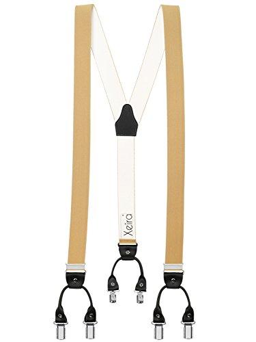 Bretelles de haute qualité avec 6 clips - Xeira® - Motif de Cuir - Fabriqué en Allemagne (Normal Taille, Beige/Noir)