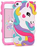iPod Touch 5th / 6th / 7th Generation; Pink Unicorn Rainbow Hearts Soft Silicone Rubber Skin Case Cover