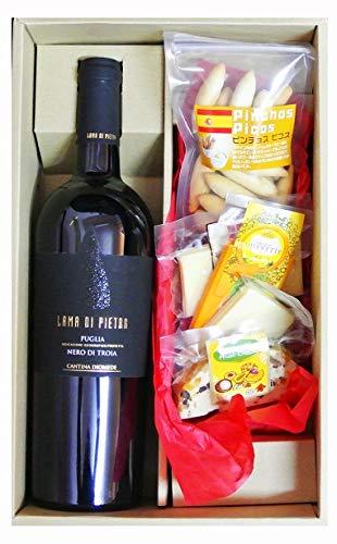 ワインギフト イタリア 赤ワイン ラーマ・ディ・ピエトラ ネーロ・ディ・トロイア&チーズ4種&ピコス詰め合わせ