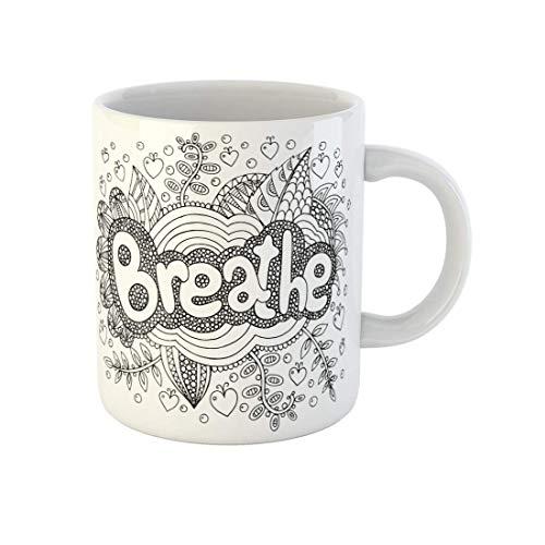 NR Kaffeetasse Malvorlagen für Erwachsene mit Mandala und Atemwort Doodle Schriftzug Tinte Gliederung Keramik Teetasse Tassen Geburtstag Souvenir für Freunde mit der Familie