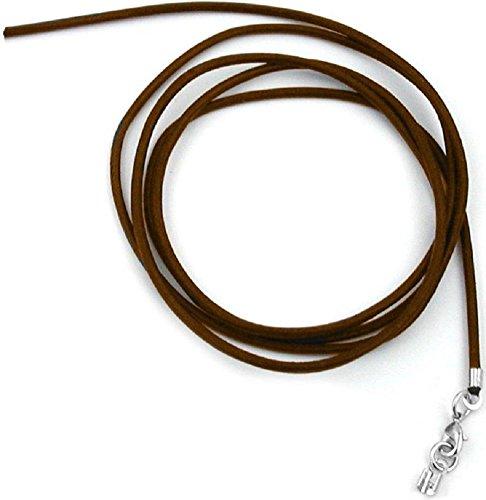 Unbespielt Lederband Braun 1m x 2 mm Kürzbar Rund Kette Collier Damen Herren Kinder Verschluss Silberfarben