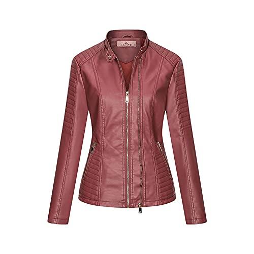 TDEOK Chaqueta de mujer estilo punk de manga larga con bolsillo con cremallera, chaqueta de piel para mujer, chaqueta corta y cálida, Rosa., XXL