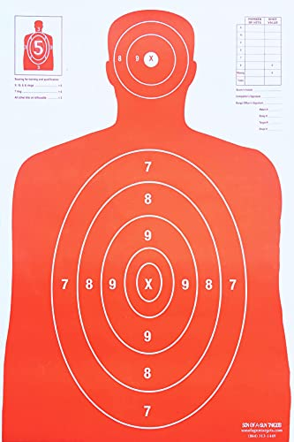 Son of A Gun Sight in Paper Shooting Targets, HIGH Shot Placement Visibility, Life Size B-27 Silhouettes, Bright Orange Package, 100 Total Count, GET More Bang for Your Buck! Best Prices Anywhere!
