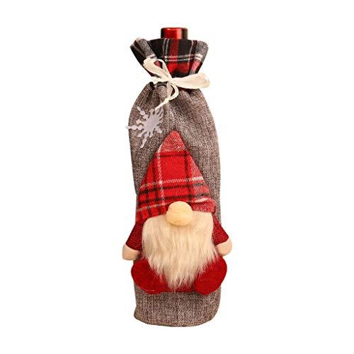 HEG Weihnachtsdekoration Weihnachtsflasche Sets Faceless Weihnachtsmann Wein Champagne-Flaschen Taschen Christbaumschmuck (Color : A)