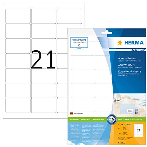 HERMA 8632 Adressaufkleber DIN A4 (63,5 x 38,1 mm, 10 Blatt, Papier, matt) selbstklebend, bedruckbar, permanent haftende Universal Etiketten, 210 Klebeetiketten, weiß