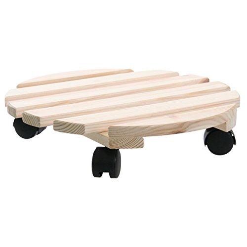 greemotion Pflanzroller in Beige/Holzfarben, robuster Kübelroller aus hochwertigem Buchenholz, rundes Rollbrett fertig montiert, kraftsparender Blumenwagen für einfachen Transport Ø ca. 30 cm