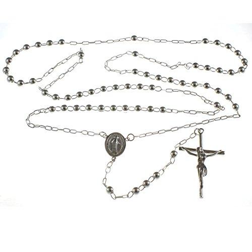 Rosario Pesado de Plata de Ley con Medalla de la Virgen Milagrosa - 61 gr.