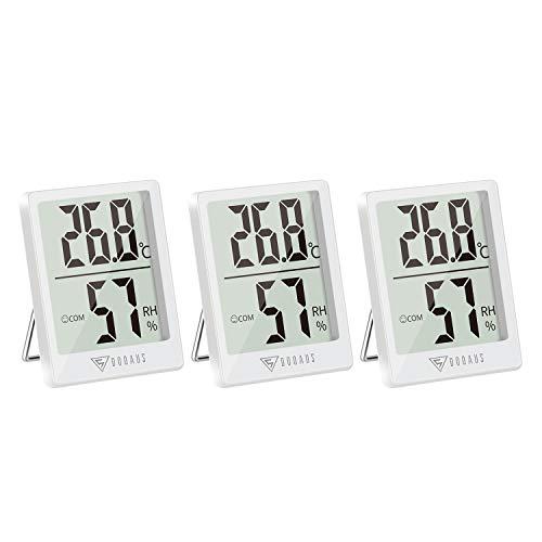 DOQAUS Digital Thermometer Innen, 3 Stück Thermo-Hygrometer Innen Hygrometer Feuchtigkeit Raumthermometer mit Hohen Genauigkeit, für Innenraum, Babyraum, Wohnzimmer, Büro(Weiß)