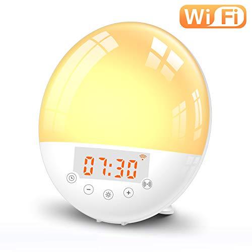 Zonsopgang Wekker CouHaP Smart Wake Up Licht Compatibel met Alexa en Google, LED Klok met Dual Alarms Snooze Functie, 7 Kleuren 7 Natuurlijke Geluiden en FM Radio, Dimbare nachtlampje voor Slaapkamers
