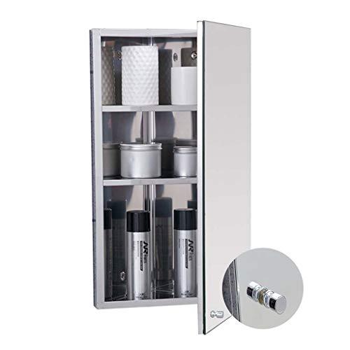 Spiegelschränke Badezimmerschrank Dreieckwandschrank Edelstahl-Eckspiegelschrank Dreischichtiger Aufbewahrungsspiegelschrank (Color : Silver-R, Size : 36 * 60 * 19cm)